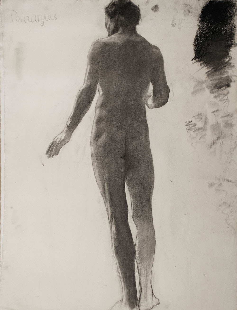 Lucien-Paul Pouzargues drawing nude from behind