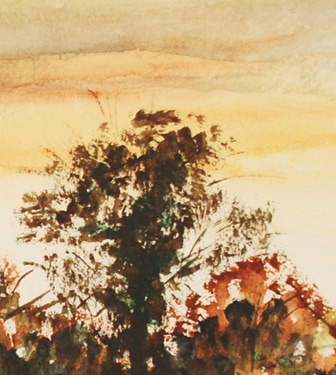 Autumn River Landscape watercolour (detail)