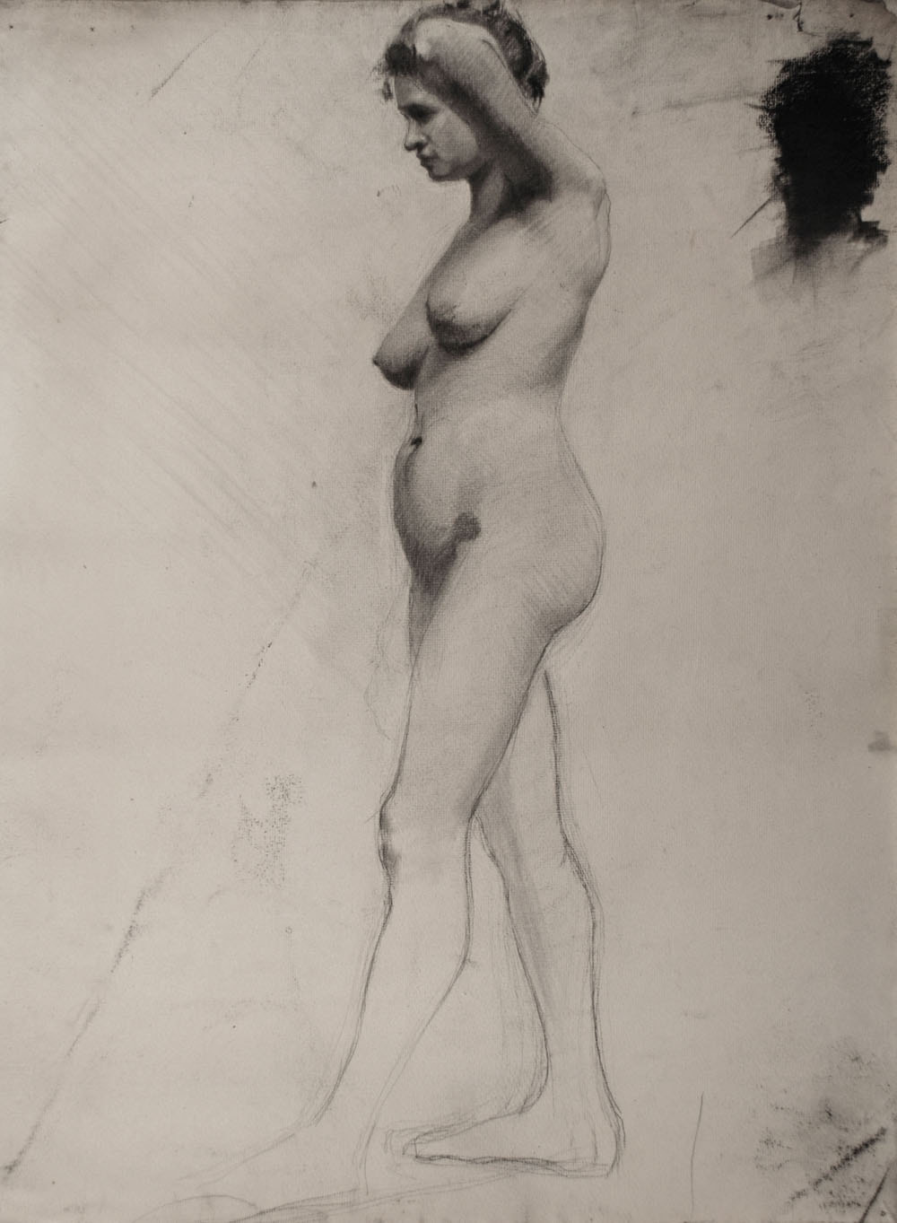 Lucien-Paul Pouzargues drawing female nude from the side