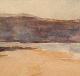 Sandsend Cliff, Yorkshire, watercolour (detail)