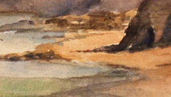 The Scar from East Pier, Whitby, watercolour (detail)