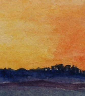 Sunset on the North York Moors, watercolour (detail)