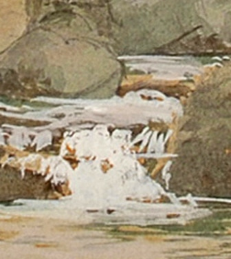 Pont y Garth, North Wales, watercolour (detail)