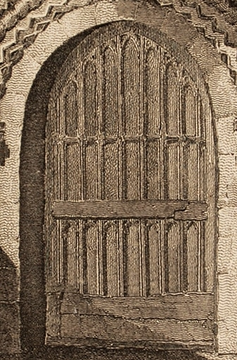 Harlington Church Porch, Middlesex, 1812 engraving (detail)