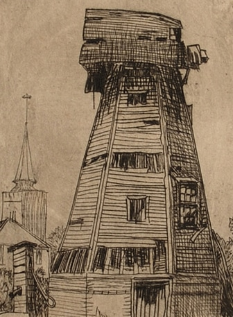 Karl Salsbury Wood, A Windmill, etching