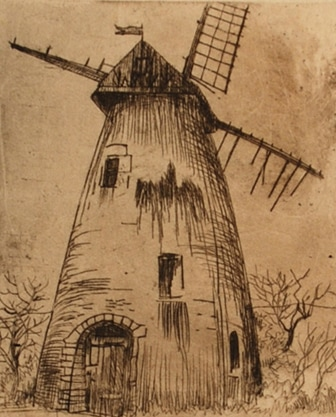 Karl Salsbury Wood, Windmill, etching