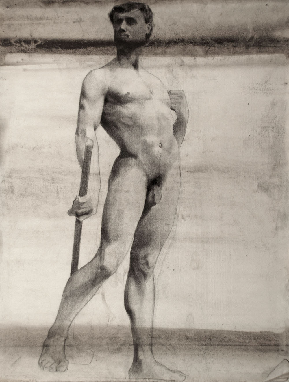 Lucien-Paul Pouzargues drawing standing male nude with rod