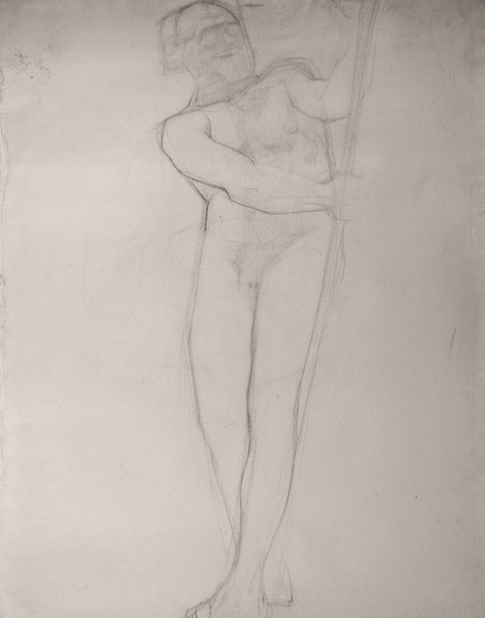 Lucien-Paul Pouzargues drawing male nude with pole