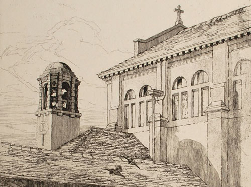 Dorothy Burt Martin etching Bell Tower and Cloister