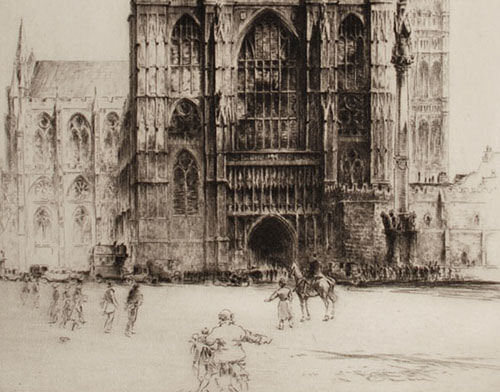 Fred A Farrell etching Westminster Abbey London