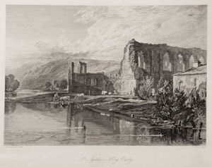 John Lekeux engraving Easby Abbey after Turner