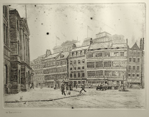 Joseph Kirsop etching Sandhill Newcastle upon Tyne