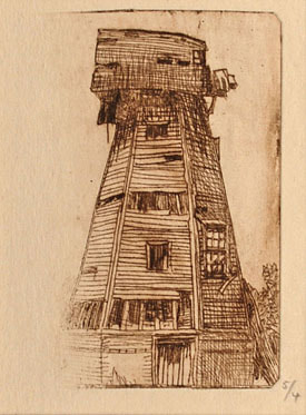 Karl Salsbury Wood Windmill trial state etching