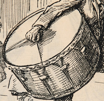 Punch cartoon by G L Stampa, drummer (detail)