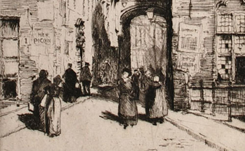 Percy Westwood etching A Street in Bruges