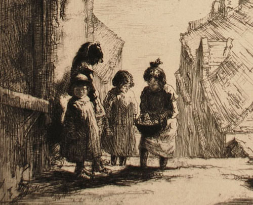 Sidney Tushingham etching Children Beneath an Archway