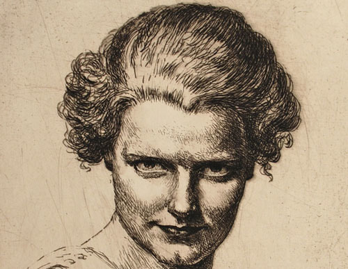 Tom Whitehead etching Portrait of a Lady